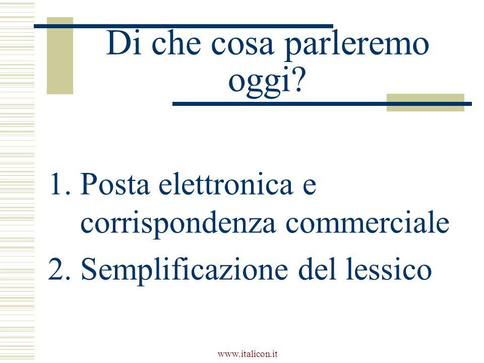 www.italicon.it Di che cosa parleremo oggi? 1.Posta elettronica e corrispondenza commerciale 2.Semplificazione del lessico