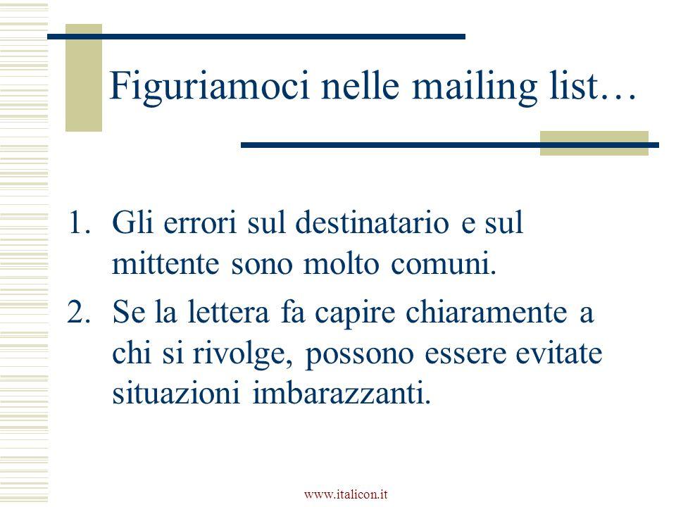 www.italicon.it Figuriamoci nelle mailing list… 1.Gli errori sul destinatario e sul mittente sono molto comuni. 2.Se la lettera fa capire chiaramente