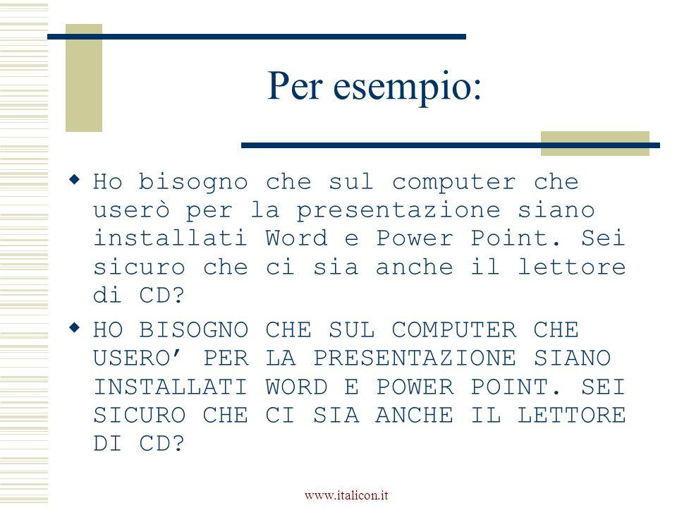 www.italicon.it Per esempio: Ho bisogno che sul computer che userò per la presentazione siano installati Word e Power Point. Sei sicuro che ci sia anc