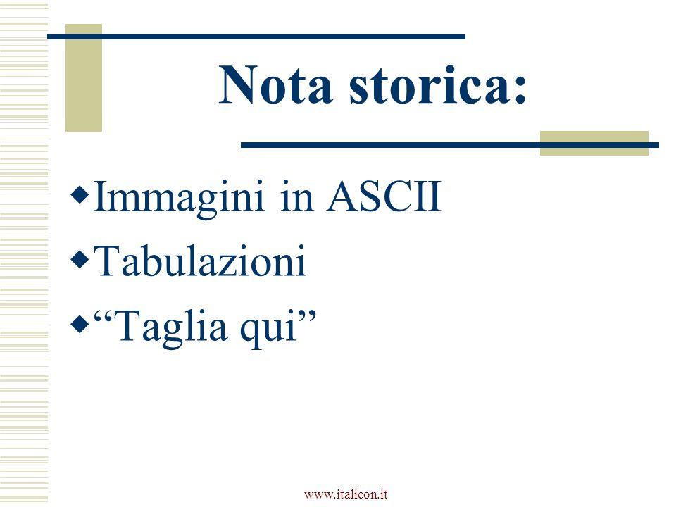 www.italicon.it Nota storica: Immagini in ASCII Tabulazioni Taglia qui