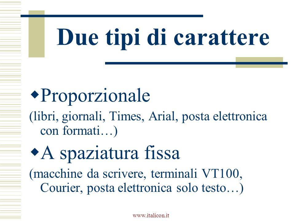 www.italicon.it Due tipi di carattere Proporzionale (libri, giornali, Times, Arial, posta elettronica con formati…) A spaziatura fissa (macchine da scrivere, terminali VT100, Courier, posta elettronica solo testo…)