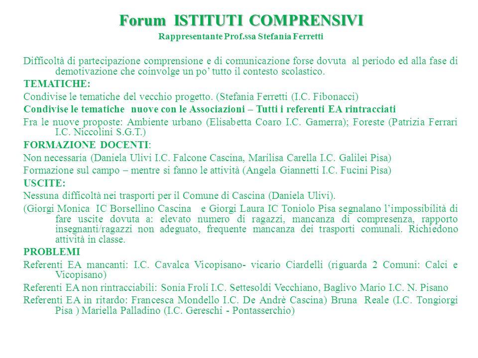 Rappresentante Prof.ssa Stefania Ferretti Difficoltà di partecipazione comprensione e di comunicazione forse dovuta al periodo ed alla fase di demotiv