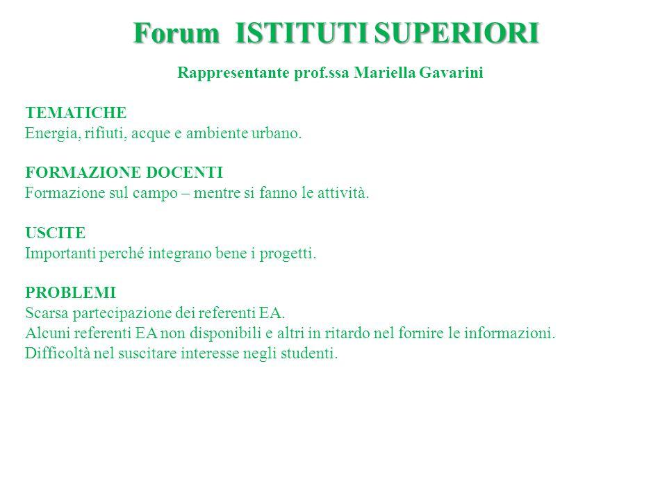 Rappresentante prof.ssa Mariella Gavarini TEMATICHE Energia, rifiuti, acque e ambiente urbano. FORMAZIONE DOCENTI Formazione sul campo – mentre si fan