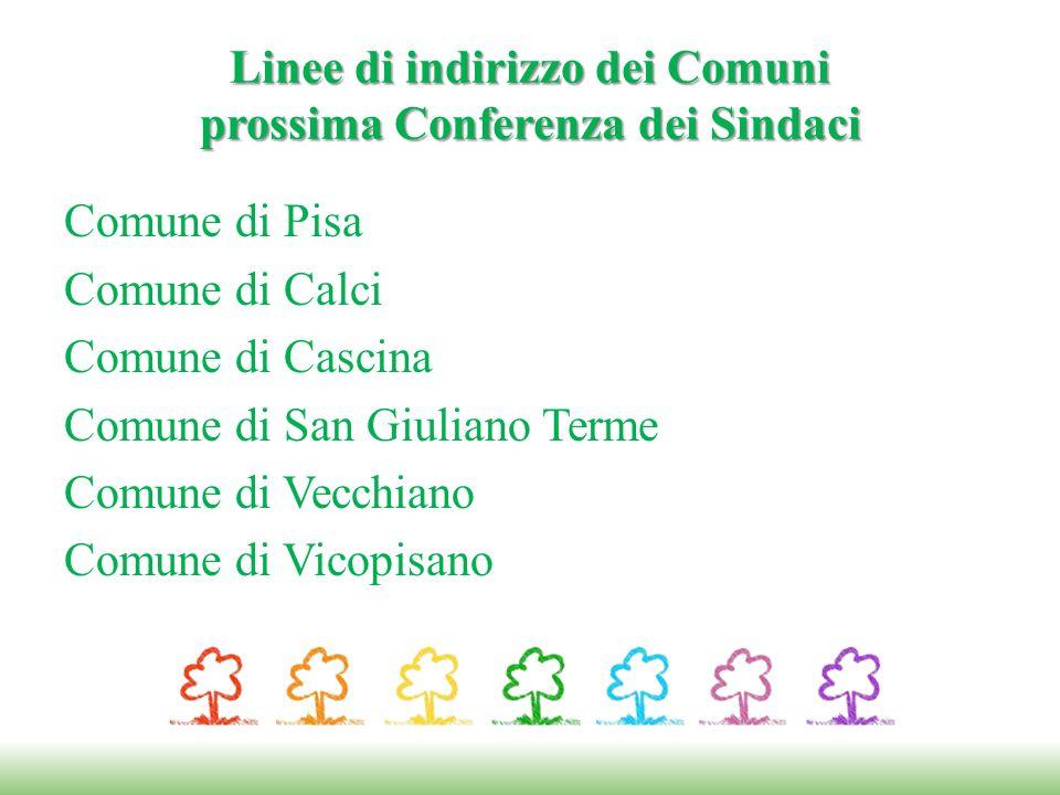 Linee di indirizzo dei Comuni prossima Conferenza dei Sindaci Comune di Pisa Comune di Calci Comune di Cascina Comune di San Giuliano Terme Comune di