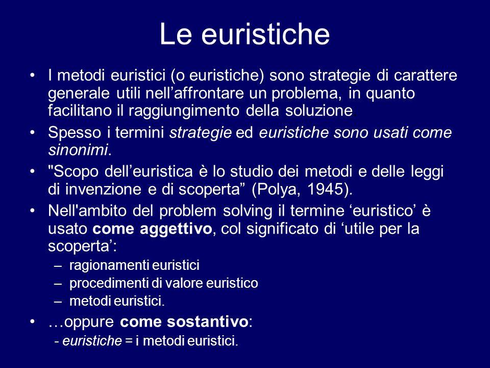 Le euristiche I metodi euristici (o euristiche) sono strategie di carattere generale utili nellaffrontare un problema, in quanto facilitano il raggiun