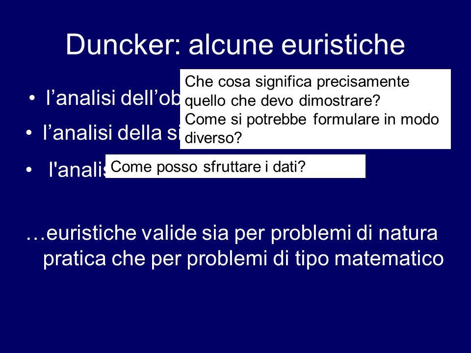 Duncker: alcune euristiche lanalisi dellobiettivo l'analisi del conflitto lanalisi della situazione o del materiale …euristiche valide sia per problem