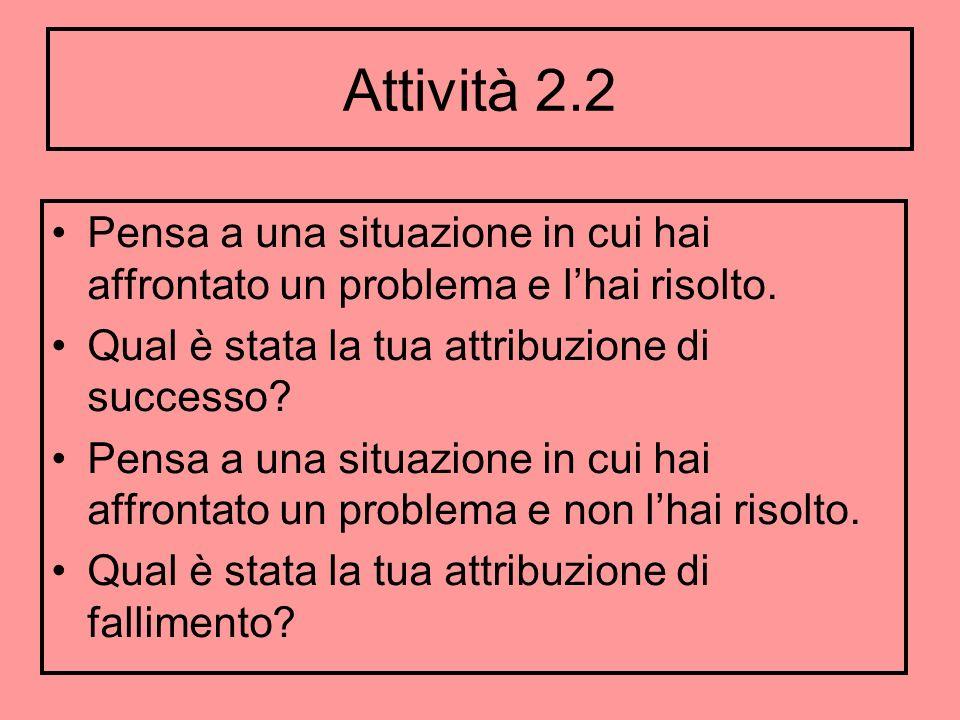 Attività 2.2 Pensa a una situazione in cui hai affrontato un problema e lhai risolto. Qual è stata la tua attribuzione di successo? Pensa a una situaz