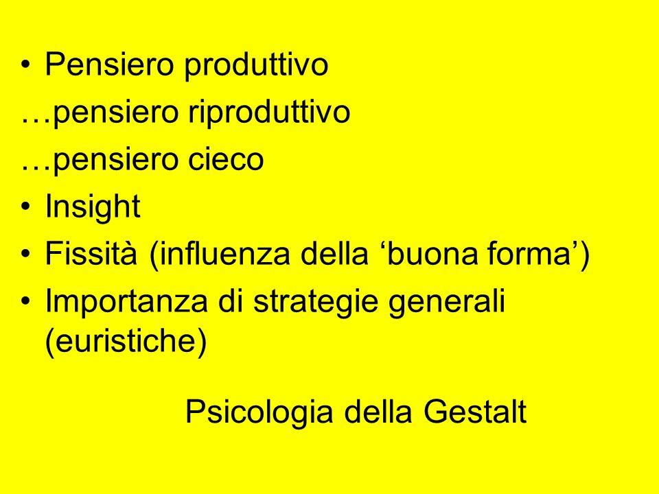 Psicologia della Gestalt Pensiero produttivo …pensiero riproduttivo …pensiero cieco Insight Fissità (influenza della buona forma) Importanza di strate