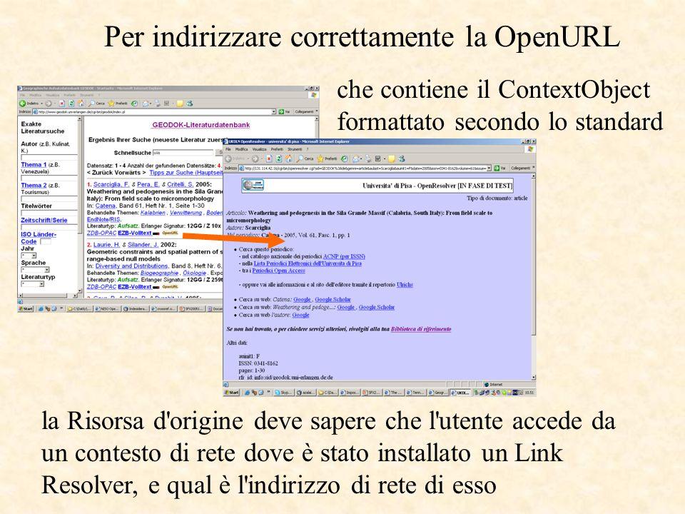 la Risorsa d origine deve sapere che l utente accede da un contesto di rete dove è stato installato un Link Resolver, e qual è l indirizzo di rete di esso che contiene il ContextObject formattato secondo lo standard Per indirizzare correttamente la OpenURL