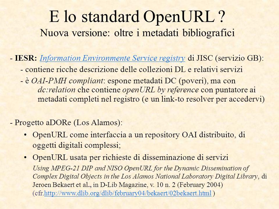 E lo standard OpenURL .