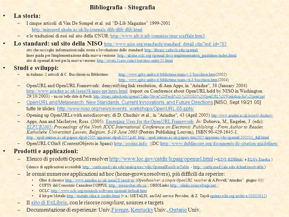 Bibliografia - Sitografia La storia: –I cinque articoli di Van De Sompel et al.