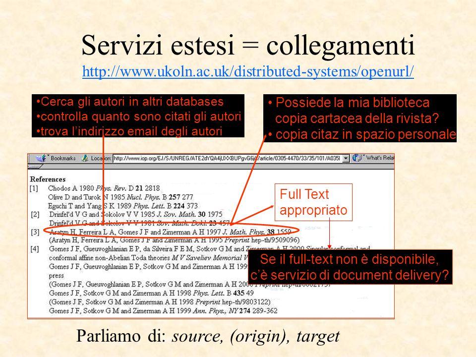 a.CrossRef ha un OpenResolver che può ricevere i metadati e restituire il DOIOpenResolverricevere i metadati e restituire il DOI (uso personale: sevizi automatici: altro indirizzo e registrazione) b.o può ricevere una OpenURL con DOI, e restituire i metadati (in formato XML) http://www.crossref.org/openurl?url_ver=Z39.88- 2004&rft_id=info:doi/10.1146/annurev.biochem.72.081902.140918&noredirect=true http://www.crossref.org/openurl?url_ver=Z39.88- 2004&rft_id=info:doi/10.1146/annurev.biochem.72.081902.140918&noredirect=true Se invece ho il DOI e voglio il testo presso l editore, basta il DOI resolver (free) 1.http://dx.doi.org/10.1146/annurev.biochem.72.081902.140918http://dx.doi.org/10.1146/annurev.biochem.72.081902.140918 (accessibile anche da http://www.crossref.org/05researchers/58doi_resolver.html http://www.crossref.org/05researchers/58doi_resolver.html 2.oppure http://hdl.handle.net/10.1146/annurev.biochem.72.081902.140918 http://hdl.handle.net/10.1146/annurev.biochem.72.081902.140918 3.ma va bene anche l Openresolver b.