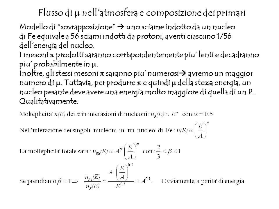 Flusso di nellatmosfera e composizione dei primari Modello di sovrapposizione uno sciame indotto da un nucleo di Fe equivale a 56 sciami indotti da pr