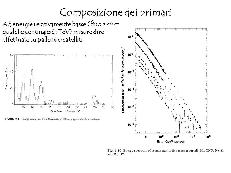 Composizione dei primari Ad energie relativamente basse (fino a circa qualche centinaio di TeV) misure dirette effettuate su palloni o satelliti