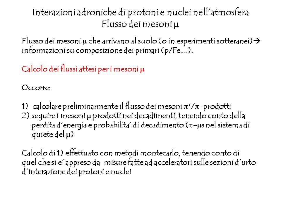 Interazioni adroniche di protoni e nuclei nellatmosfera Flusso dei mesoni Flusso dei mesoni che arrivano al suolo (o in esperimenti sotteranei) inform