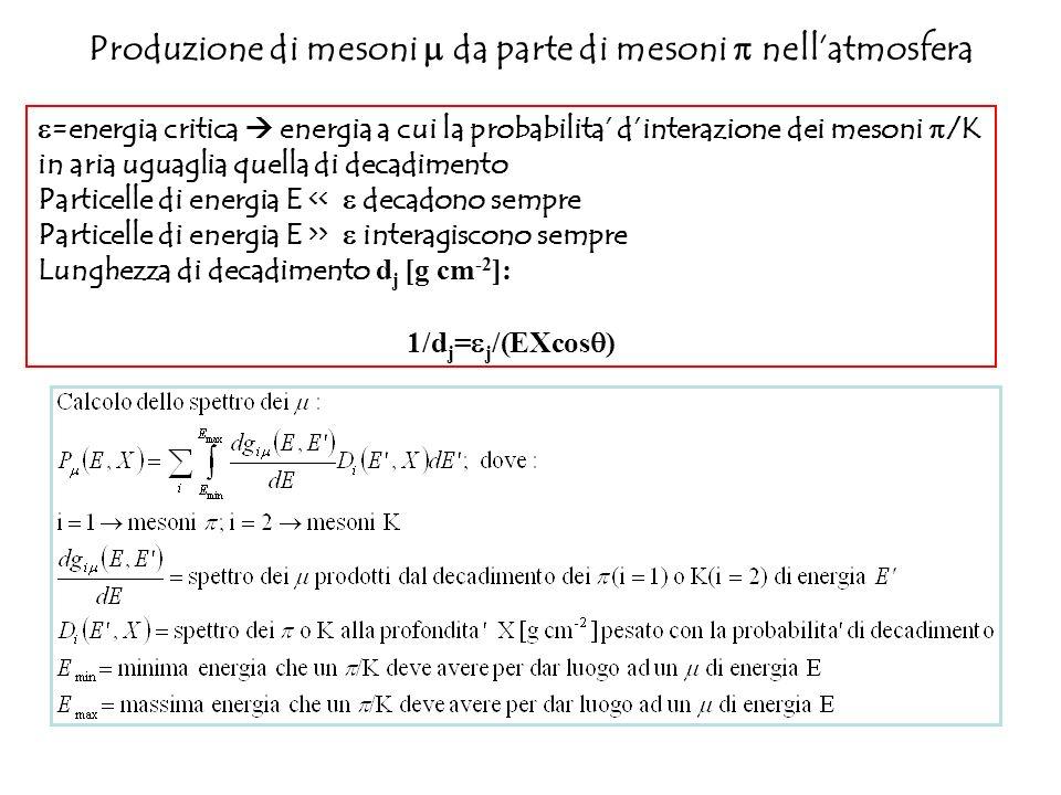 Produzione di mesoni da parte di mesoni nellatmosfera =energia critica energia a cui la probabilita dinterazione dei mesoni /K in aria uguaglia quella