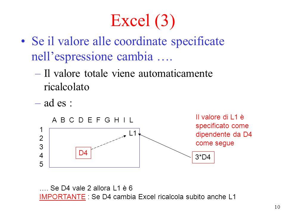 10 Excel (3) Se il valore alle coordinate specificate nellespressione cambia …. –Il valore totale viene automaticamente ricalcolato –ad es : 123451234