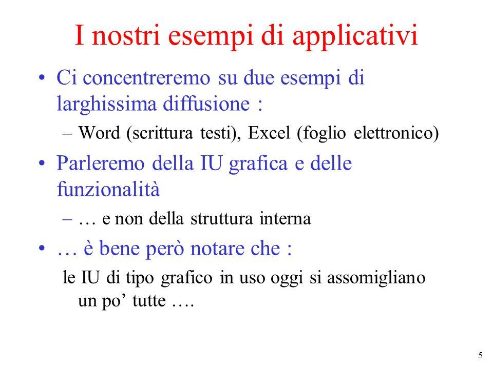 5 I nostri esempi di applicativi Ci concentreremo su due esempi di larghissima diffusione : –Word (scrittura testi), Excel (foglio elettronico) Parler