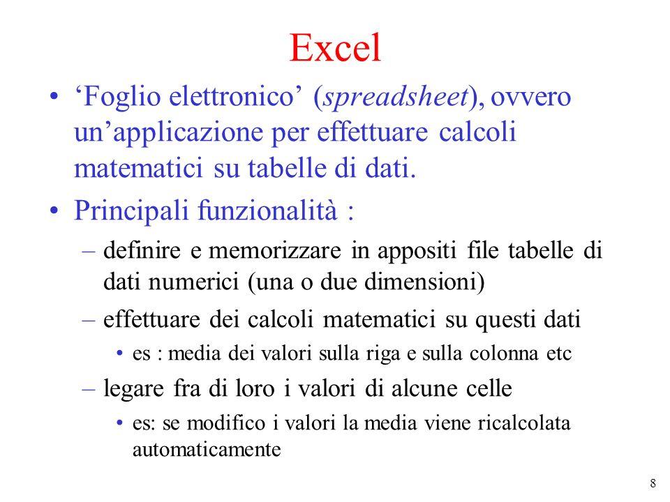 8 Excel Foglio elettronico (spreadsheet), ovvero unapplicazione per effettuare calcoli matematici su tabelle di dati. Principali funzionalità : –defin