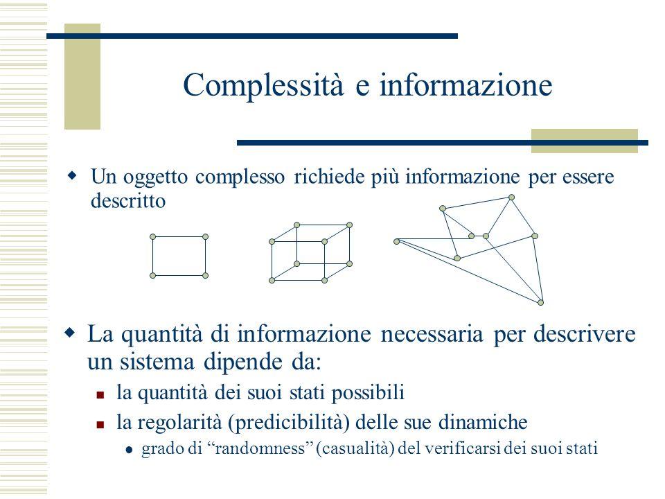 Complessità e informazione Un oggetto complesso richiede più informazione per essere descritto La quantità di informazione necessaria per descrivere un sistema dipende da: la quantità dei suoi stati possibili la regolarità (predicibilità) delle sue dinamiche grado di randomness (casualità) del verificarsi dei suoi stati