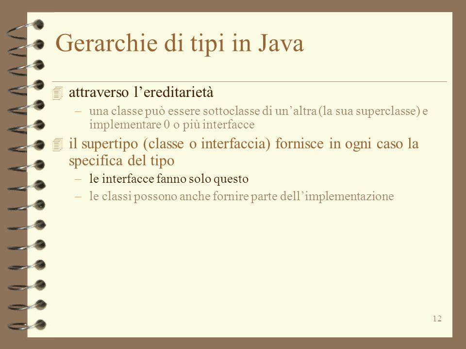 12 Gerarchie di tipi in Java 4 attraverso lereditarietà –una classe può essere sottoclasse di unaltra (la sua superclasse) e implementare 0 o più interfacce 4 il supertipo (classe o interfaccia) fornisce in ogni caso la specifica del tipo –le interfacce fanno solo questo –le classi possono anche fornire parte dellimplementazione