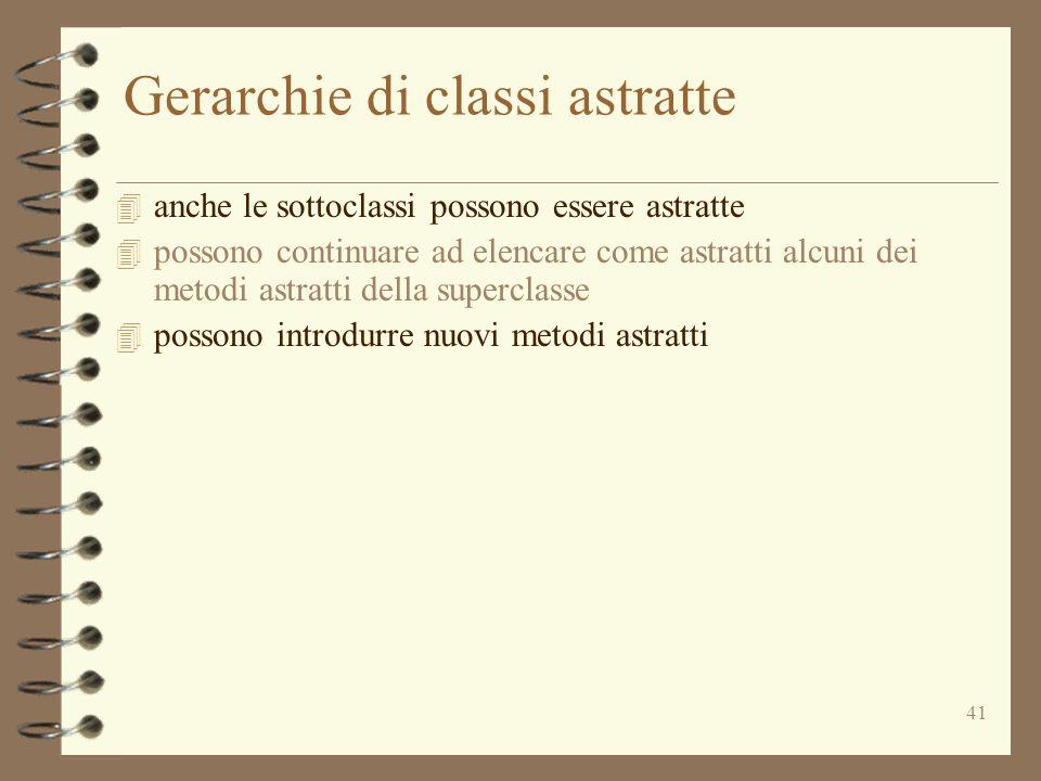 41 Gerarchie di classi astratte 4 anche le sottoclassi possono essere astratte 4 possono continuare ad elencare come astratti alcuni dei metodi astratti della superclasse 4 possono introdurre nuovi metodi astratti