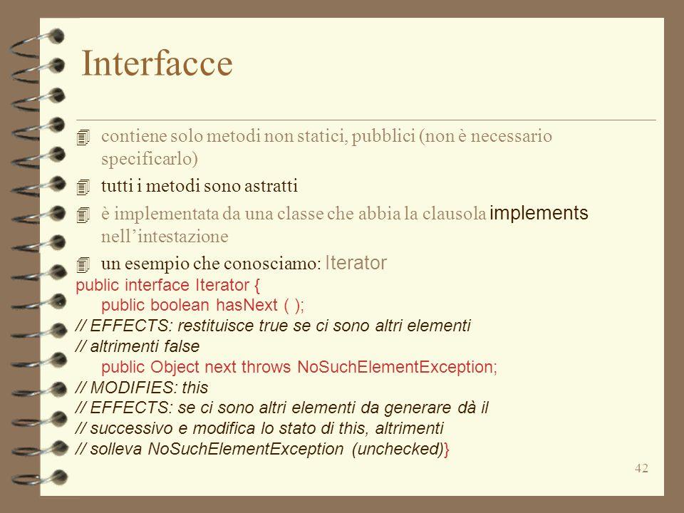 42 Interfacce 4 contiene solo metodi non statici, pubblici (non è necessario specificarlo) 4 tutti i metodi sono astratti 4 è implementata da una classe che abbia la clausola implements nellintestazione 4 un esempio che conosciamo: Iterator public interface Iterator { public boolean hasNext ( ); // EFFECTS: restituisce true se ci sono altri elementi // altrimenti false public Object next throws NoSuchElementException; // MODIFIES: this // EFFECTS: se ci sono altri elementi da generare dà il // successivo e modifica lo stato di this, altrimenti // solleva NoSuchElementException (unchecked)}