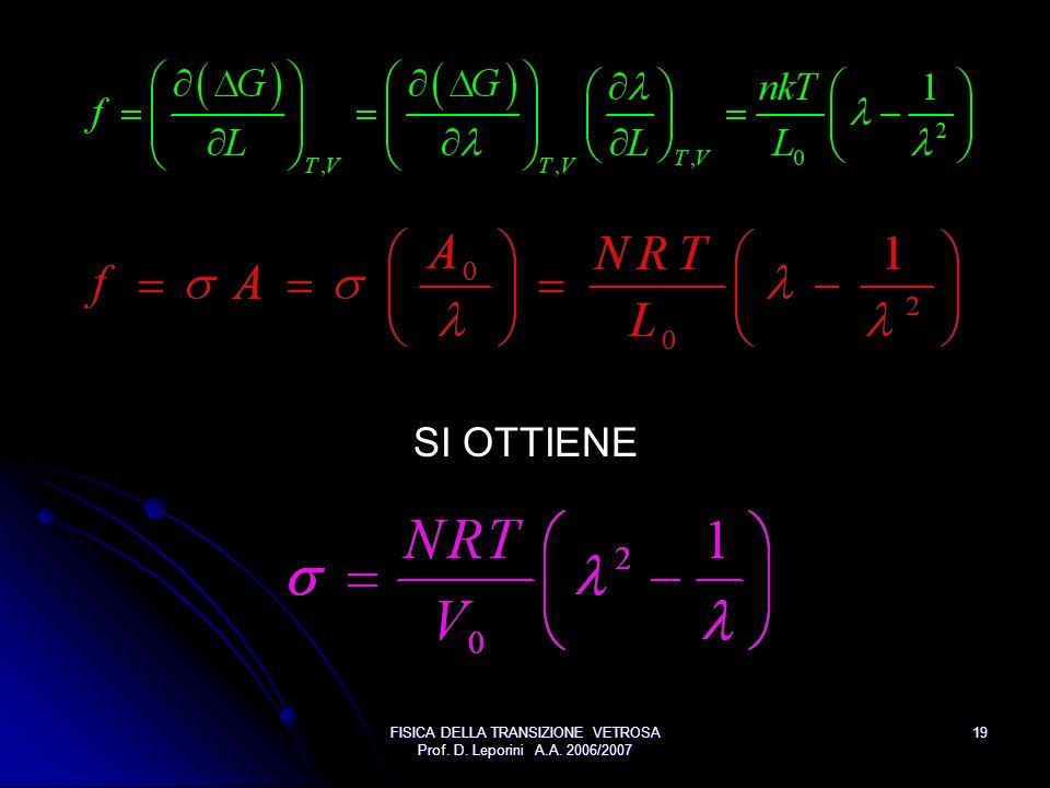 FISICA DELLA TRANSIZIONE VETROSA Prof. D. Leporini A.A. 2006/2007 19 SI OTTIENE