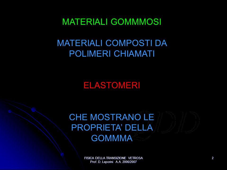 FISICA DELLA TRANSIZIONE VETROSA Prof. D. Leporini A.A. 2006/2007 2 MATERIALI GOMMMOSI MATERIALI COMPOSTI DA POLIMERI CHIAMATI ELASTOMERI CHE MOSTRANO