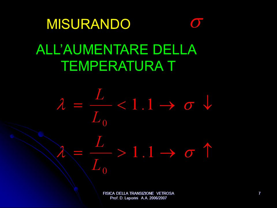 FISICA DELLA TRANSIZIONE VETROSA Prof. D. Leporini A.A. 2006/2007 7 MISURANDO ALLAUMENTARE DELLA TEMPERATURA T