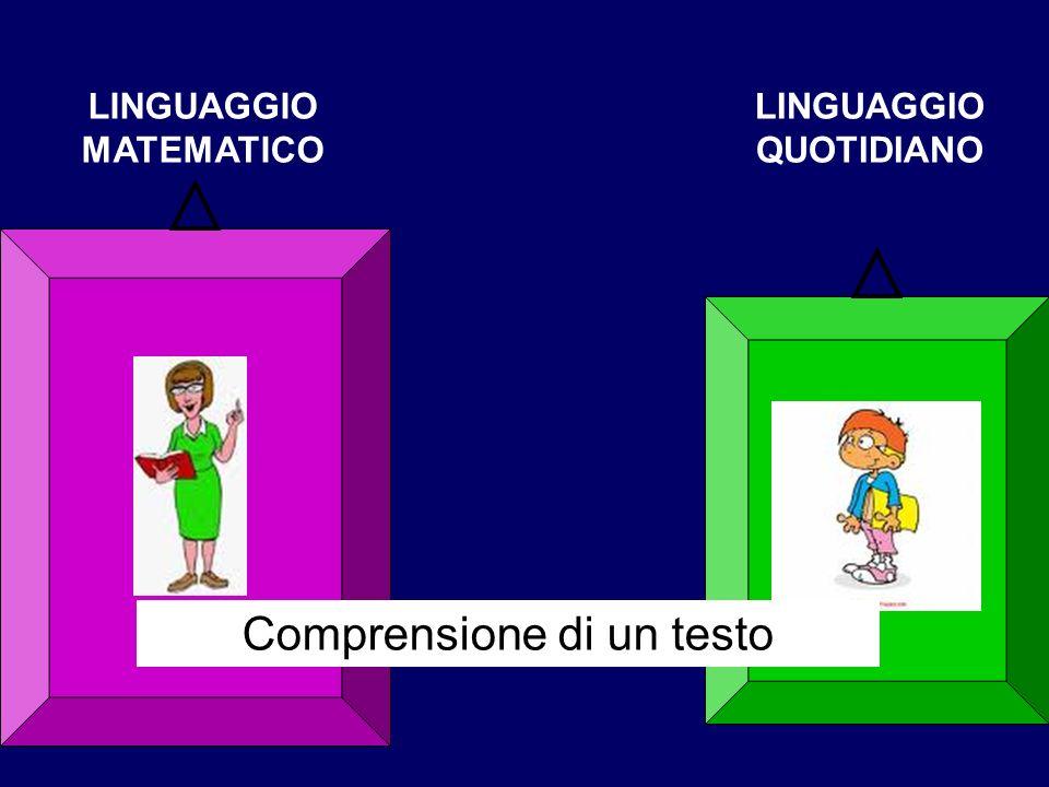 LINGUAGGIO MATEMATICO LINGUAGGIO QUOTIDIANO Comprensione di un testo