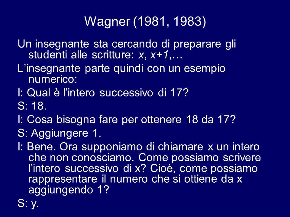 Wagner (1981, 1983) Un insegnante sta cercando di preparare gli studenti alle scritture: x, x+1,… Linsegnante parte quindi con un esempio numerico: I: