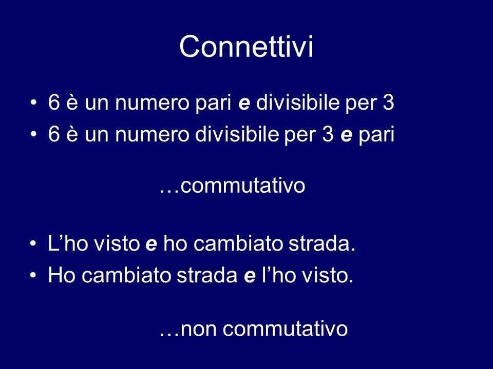 Connettivi 6 è un numero pari e divisibile per 3 6 è un numero divisibile per 3 e pari Lho visto e ho cambiato strada. Ho cambiato strada e lho visto.