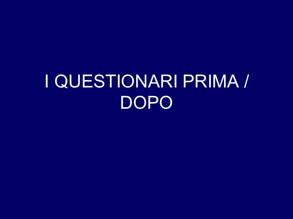 I QUESTIONARI PRIMA / DOPO