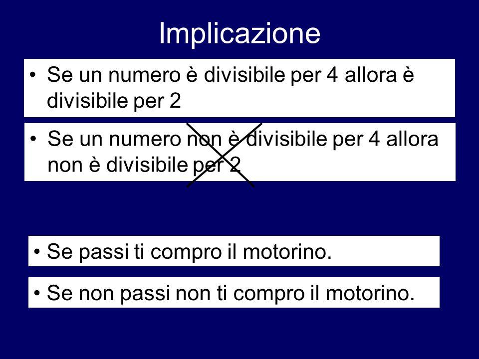 Implicazione Se un numero è divisibile per 4 allora è divisibile per 2 Se un numero non è divisibile per 4 allora non è divisibile per 2 Se passi ti c