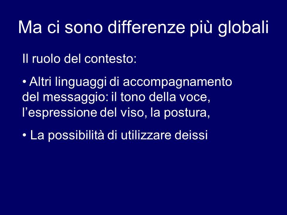 Ma ci sono differenze più globali Il ruolo del contesto: Altri linguaggi di accompagnamento del messaggio: il tono della voce, lespressione del viso,