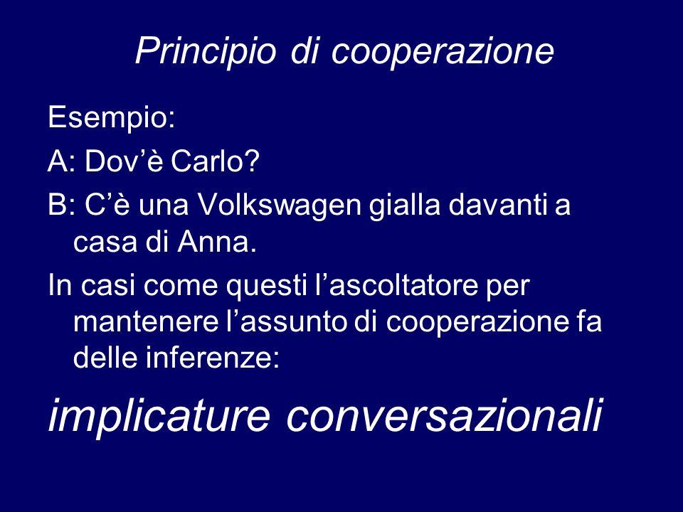 Principio di cooperazione Esempio: A: Dovè Carlo? B: Cè una Volkswagen gialla davanti a casa di Anna. In casi come questi lascoltatore per mantenere l