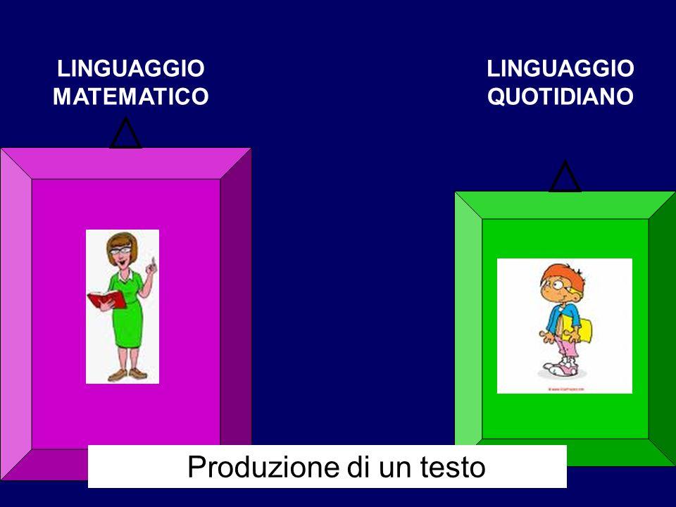 LINGUAGGIO MATEMATICO LINGUAGGIO QUOTIDIANO Produzione di un testo