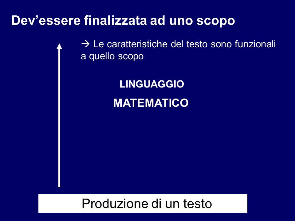 LINGUAGGIO MATEMATICO Devessere finalizzata ad uno scopo Le caratteristiche del testo sono funzionali a quello scopo Produzione di un testo