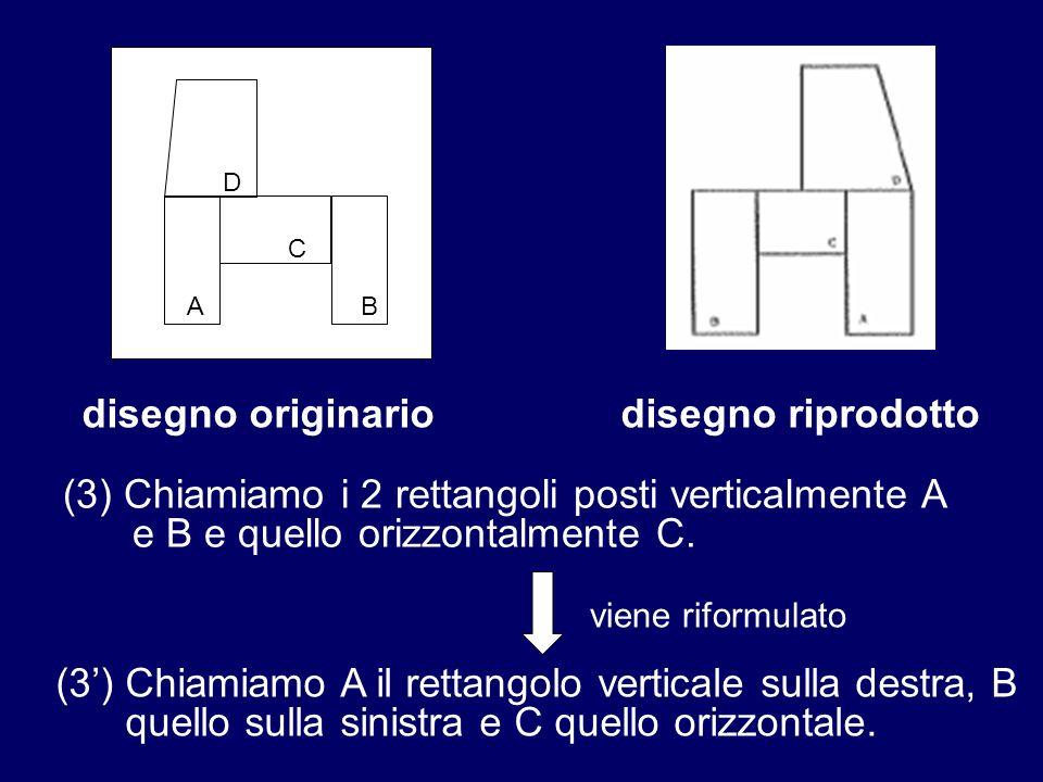 A D C B disegno originariodisegno riprodotto (3) Chiamiamo i 2 rettangoli posti verticalmente A e B e quello orizzontalmente C. (3) Chiamiamo A il ret