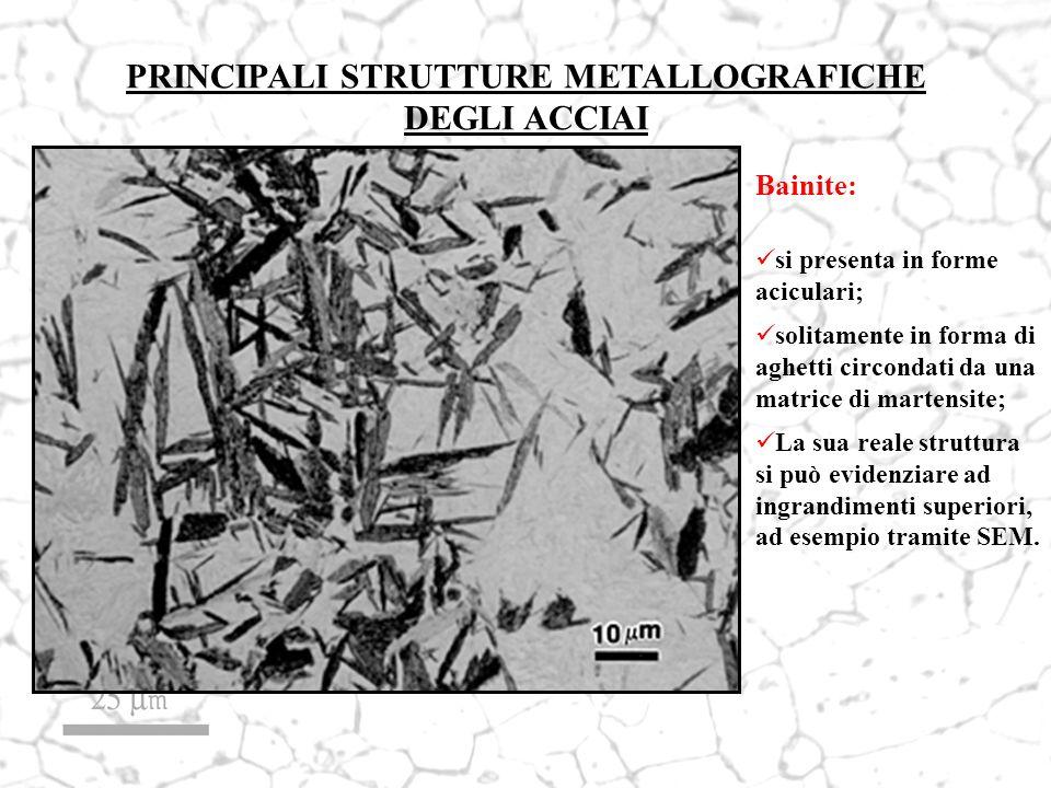PRINCIPALI STRUTTURE METALLOGRAFICHE DEGLI ACCIAI Bainite: si presenta in forme aciculari; solitamente in forma di aghetti circondati da una matrice d