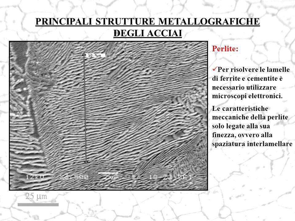 PRINCIPALI STRUTTURE METALLOGRAFICHE DEGLI ACCIAI Perlite: Per risolvere le lamelle di ferrite e cementite è necessario utilizzare microscopi elettron