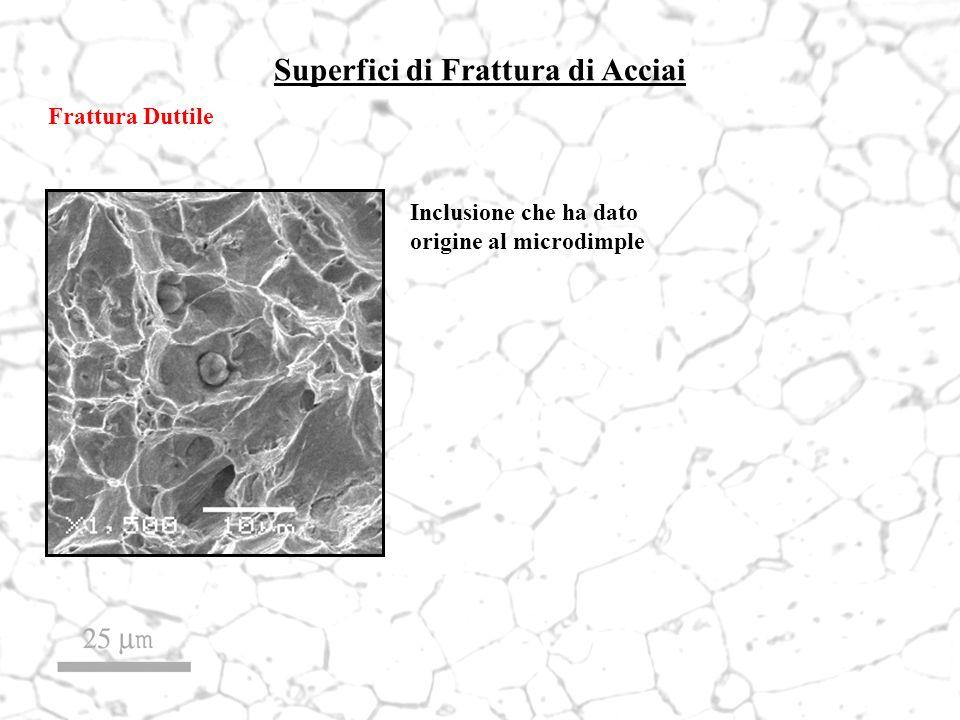 Superfici di Frattura di Acciai Frattura Duttile Inclusione che ha dato origine al microdimple
