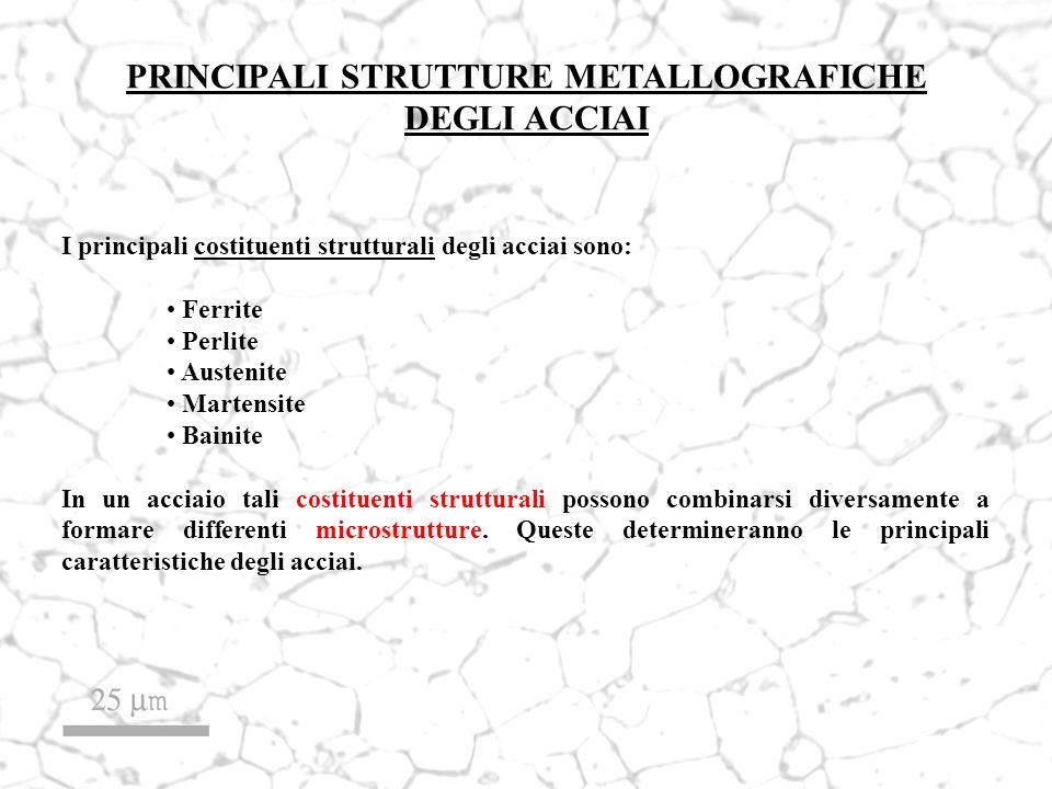 PRINCIPALI STRUTTURE METALLOGRAFICHE DEGLI ACCIAI I principali costituenti strutturali degli acciai sono: Ferrite Perlite Austenite Martensite Bainite