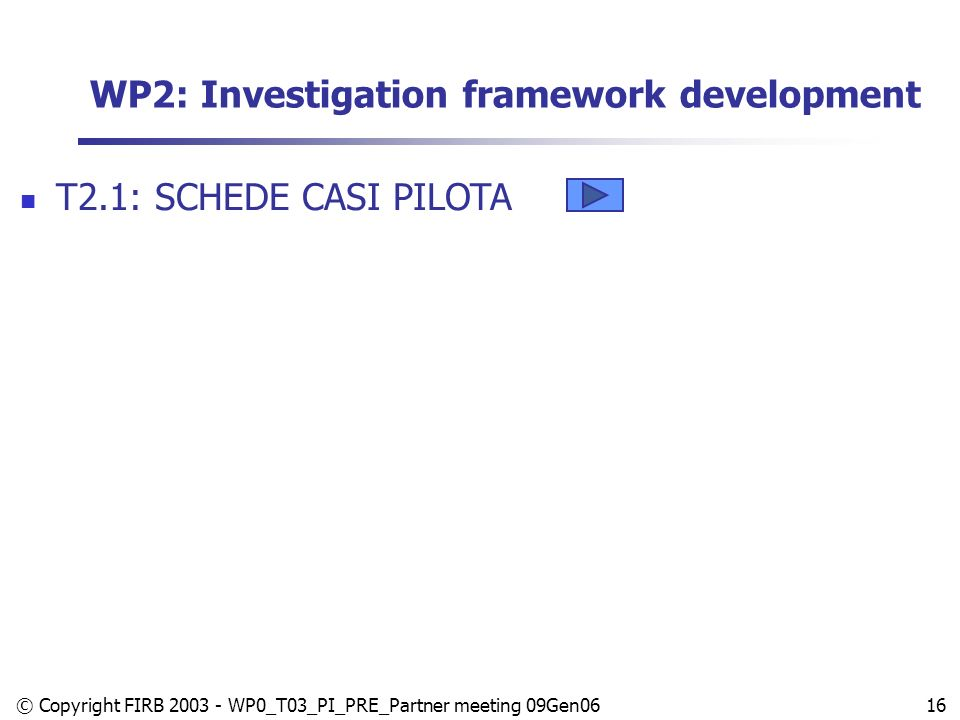 © Copyright FIRB 2003 - WP0_T03_PI_PRE_Partner meeting 09Gen0616 WP2: Investigation framework development T2.1: SCHEDE CASI PILOTA