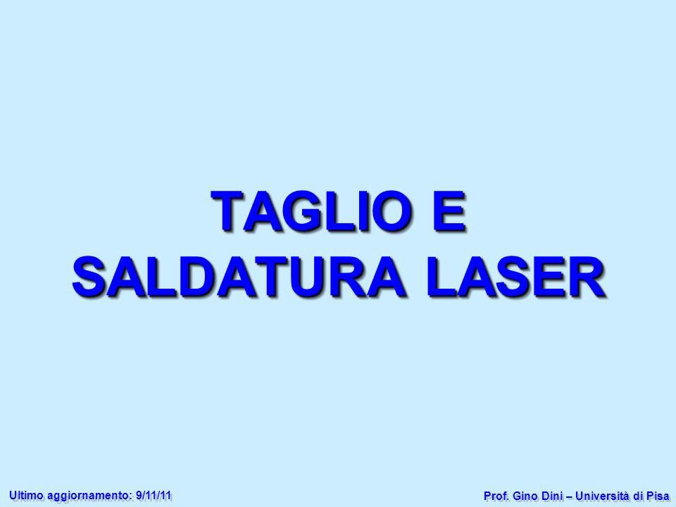 TAGLIO E SALDATURA LASER Prof. Gino Dini – Università di Pisa Ultimo aggiornamento: 9/11/11