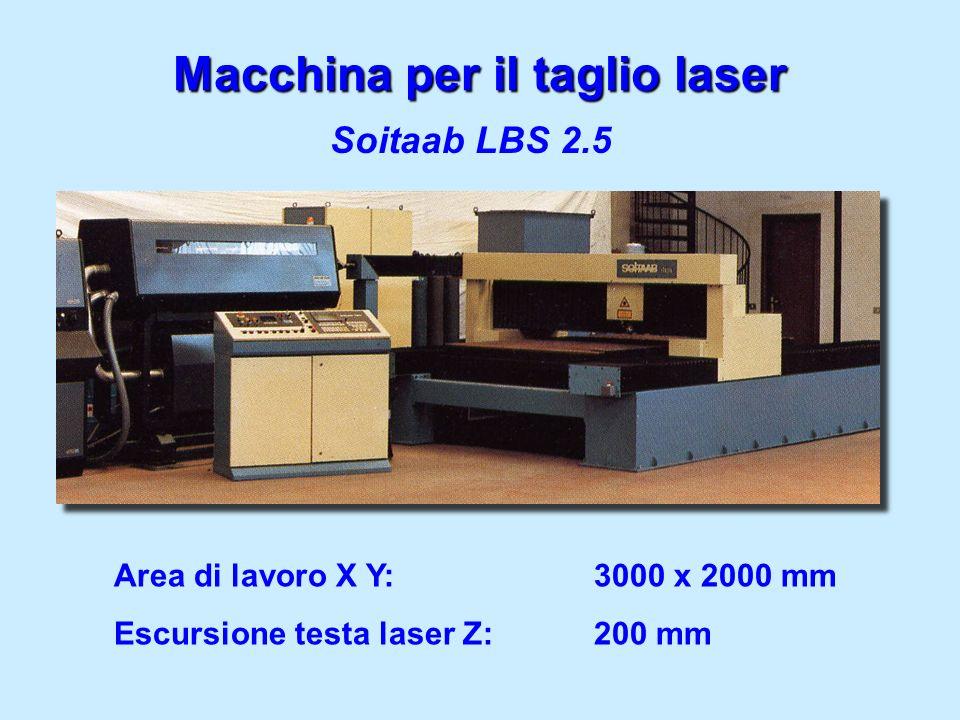 Macchina per il taglio laser Soitaab LBS 2.5 Area di lavoro X Y:3000 x 2000 mm Escursione testa laser Z:200 mm