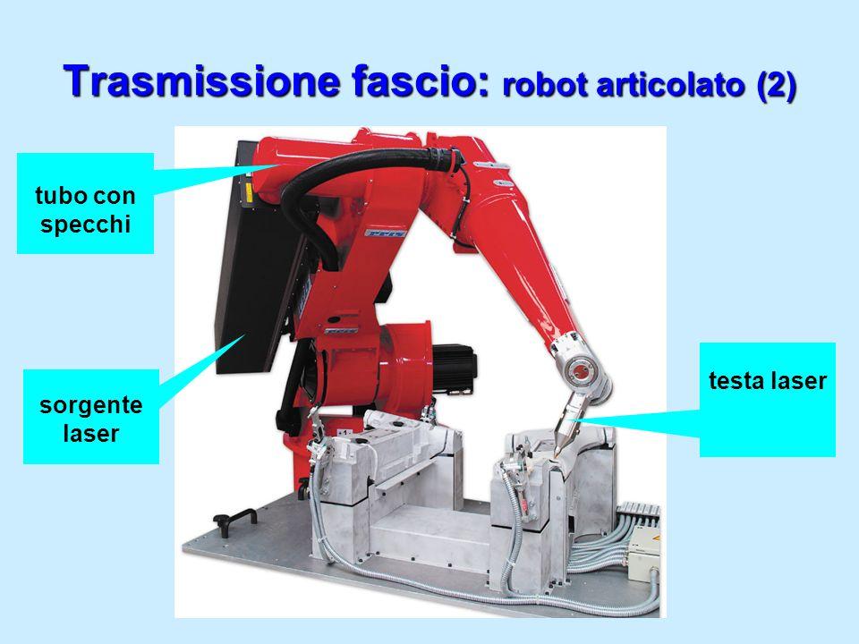 Trasmissione fascio: robot articolato (2) sorgente laser tubo con specchi testa laser