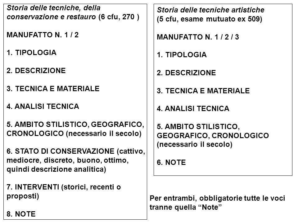 Storia delle tecniche, della conservazione e restauro (6 cfu, 270 ) MANUFATTO N. 1 / 2 1. TIPOLOGIA 2. DESCRIZIONE 3. TECNICA E MATERIALE 4. ANALISI T