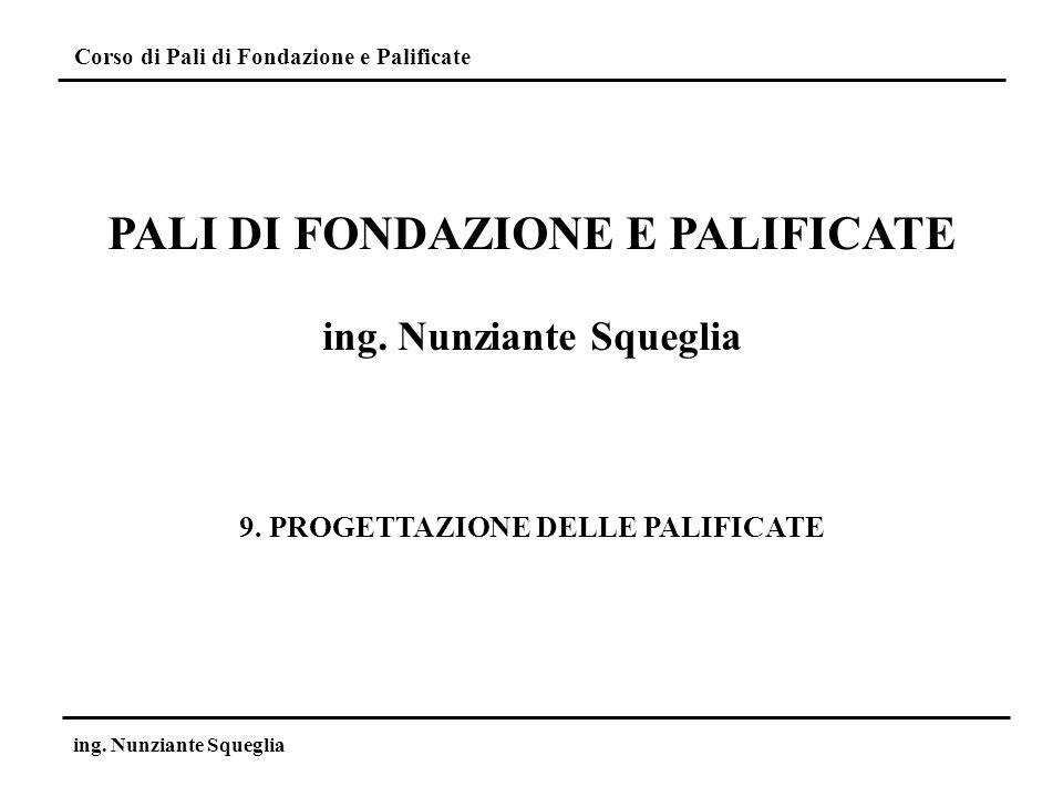 Corso di Pali di Fondazione e Palificate ing. Nunziante Squeglia Situazioni di progetto: